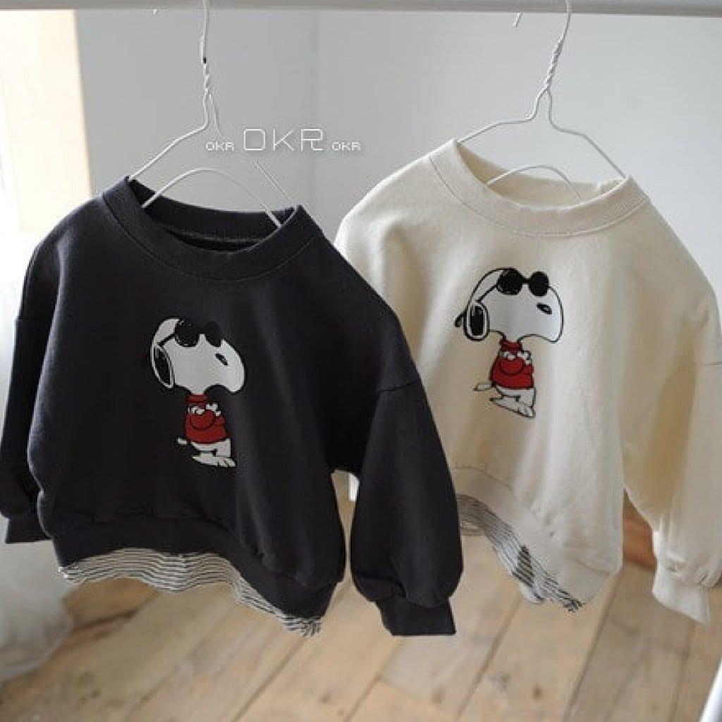 Snoopy M to M Tee - Dark Gray | Korean Kids Clothes - Imaryakids