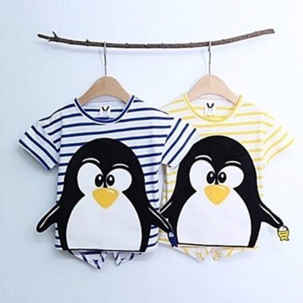 Striped Penguin Tee, unisex clothing, large cute cartoon - Yellow | Korean Kids Clothes - Imaryakids