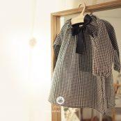 Arim Closet Baby Black Ribbon Check Dress