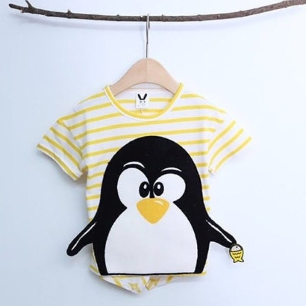 Striped Penguin Tee, unisex clothing, large cute cartoon - Yellow | Korean Kids Clothes - Imaryakids
