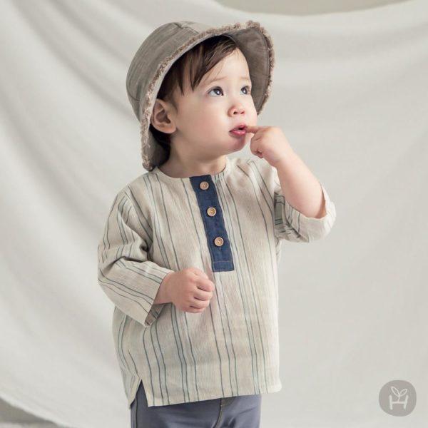 Samuel three-quarter sleeve shirt | Korean Kids Clothes - Imaryakids