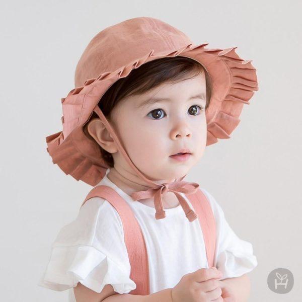 Meria frill sunhat - Brown | Korean Kids Clothes - Imaryakids