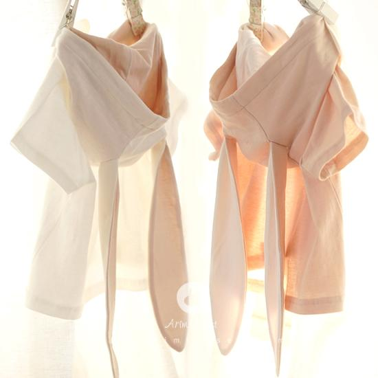 Arim Closet Ivory Beige Pink Cotton Bunny Baby Hood