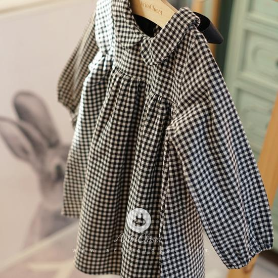 Arim Closet Small Check Cotton Baby Dress Kids Clothes