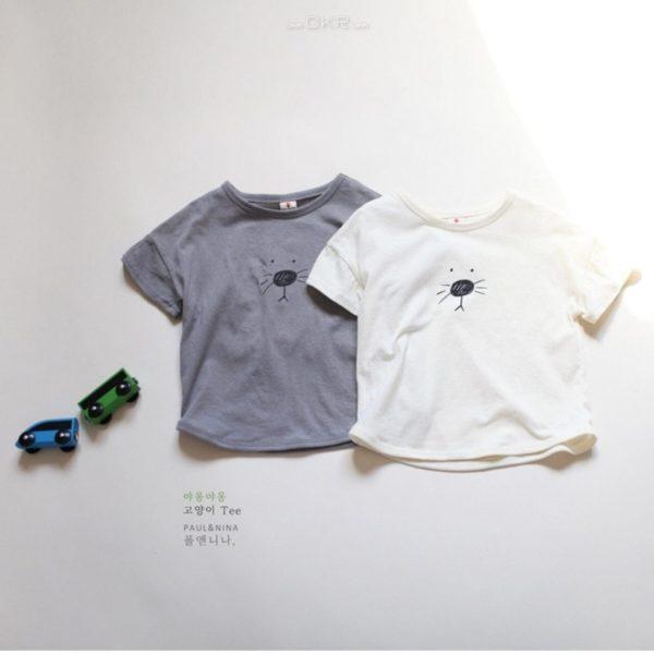 Meow Cat Tee - Gray | Korean Kids Clothes - Imaryakids