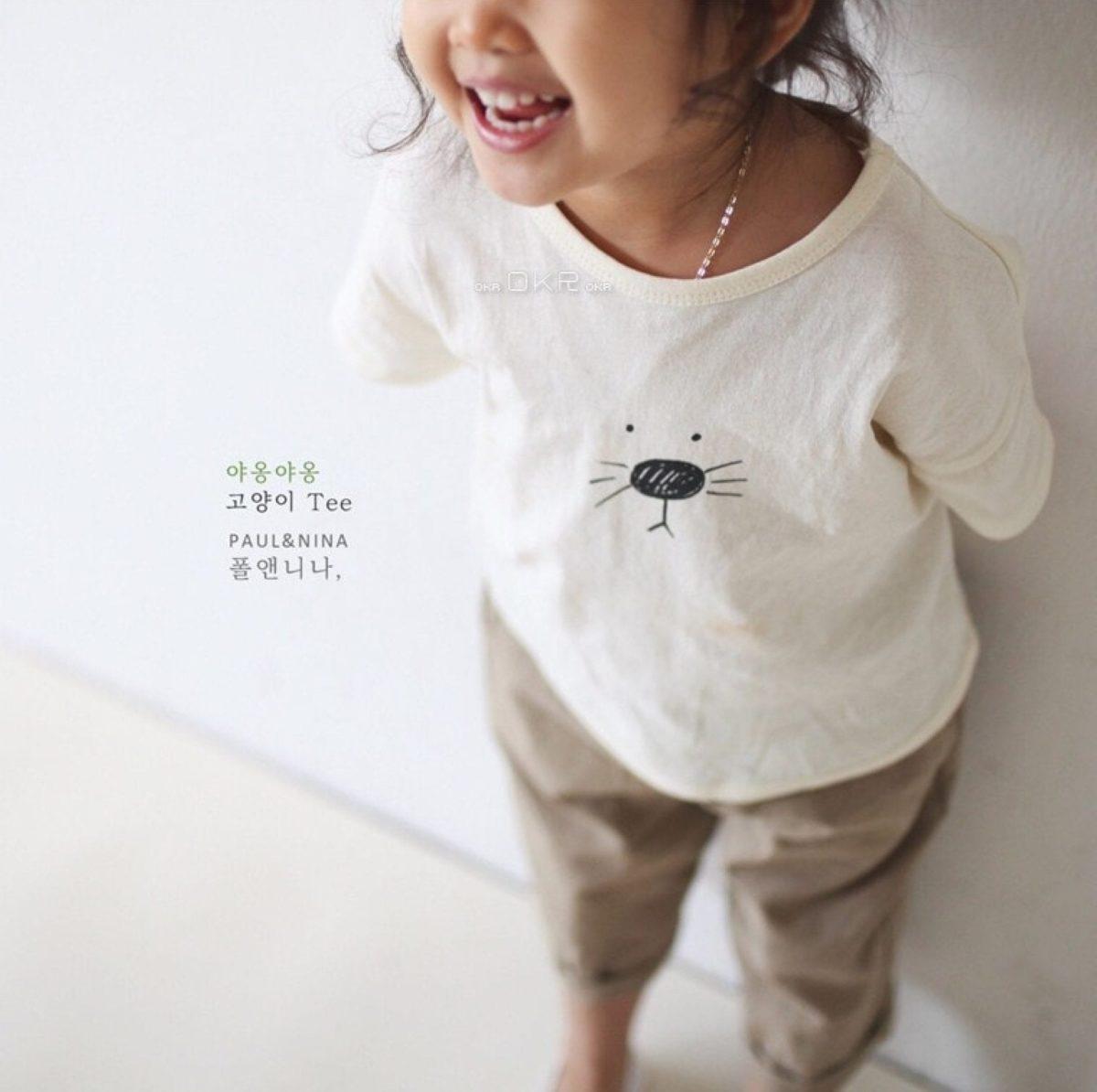 Meow Cat Tee - Gray   Korean Kids Clothes - Imaryakids