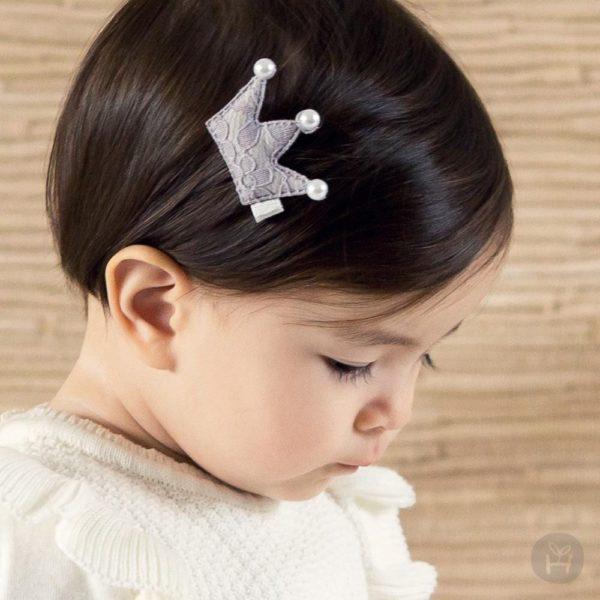 Happy Prince Bling Crown Hairpin- Gray | Korean Kids Clothes - Imaryakids